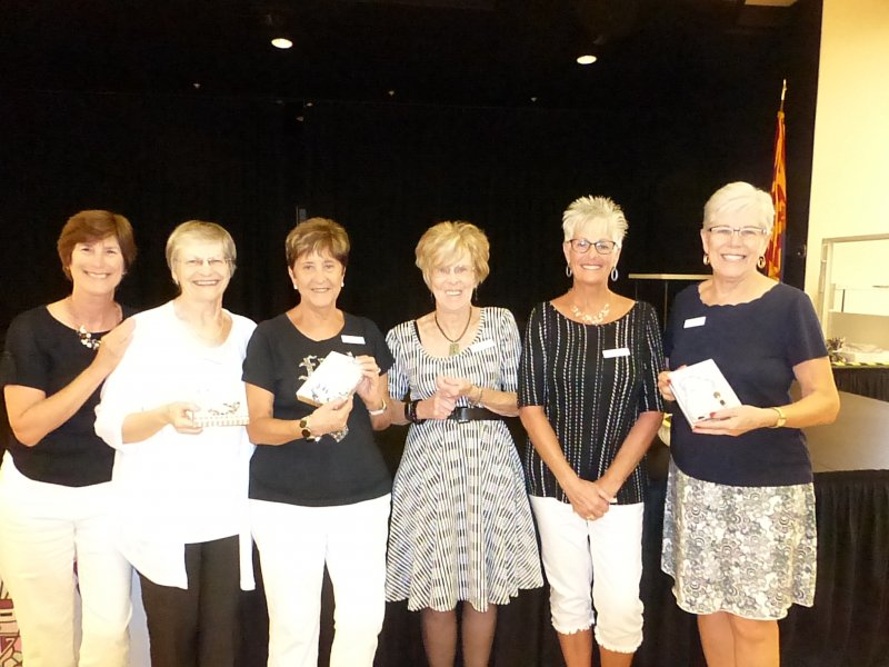 Winners of beautiful hand crafted necklaces.  Chris Viner, Judy stone, Alicia Kelley, Paula Newman, Vicki Mitchell and Lee Drake.