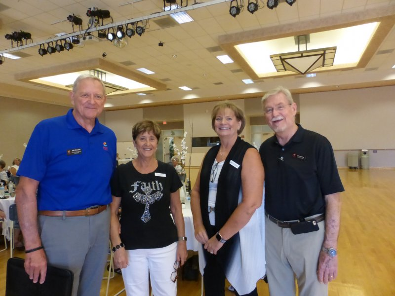 Jim Sloan, President Alicia Kelly, Event hostess and President-Elect Anne Becknell, and Mike Whiting.